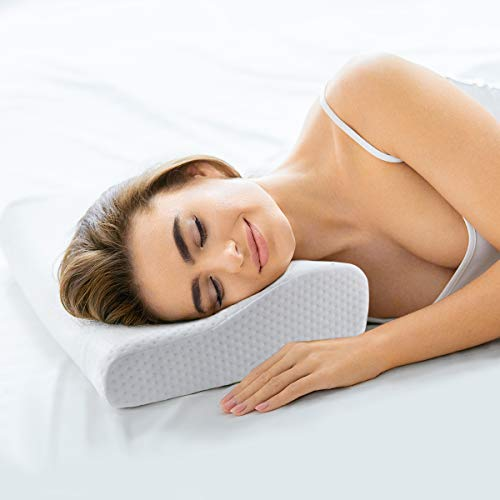 Healifty Contour Pillow - Thermostatic Memory Foam Pillow - Sleeping Orthopedic Pillow for Neck Pain, Support Side Sleepers, Back and Stomach Sleepers - Free Pillowcase Included