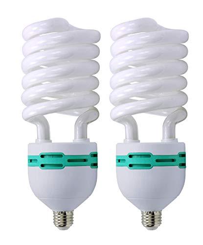 LimoStudio 2pcs 65 Watt 6500K Photography Studio Light Bulb, Compact Fluorescent Lamp Pure White Daylight Balanced Studio Light Bulb, AGG118