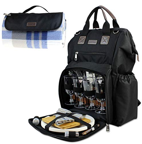 Picknick-Rucksack für 4 Personen, isolierte Kühltasche mit weitem offenem großem Fassungsvermögen, kostenlose wasserdichte Stranddecke, Teller 22,9 cm, Holzgriff, Besteck-Set für Outdoor-Camping