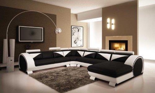 Hot Sale Vig Furniture 7395 Black & White Bonded Leather Sectional Sofa