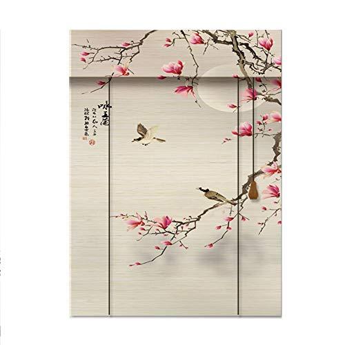 CHAXIA Bambus Rollo Bambusrollo HD Pflaumenblüten \\ Orchidee Drucken Wohnzimmer Studierzimmer Hängendes Gemälde, 2 Arten, Mehrere Größen (Color : B, Size : 45x150cm)