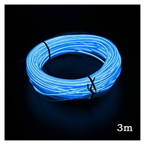 WSCHENG 1m / 2m / 3m / 5m Coche LED Tiras Auto Neon El Alambre Decoración Atmósfera Lámpara Interior Interior LED 12V Cuerda Flexible Luz de Coche (Emitting Color : SetBlue 3m)