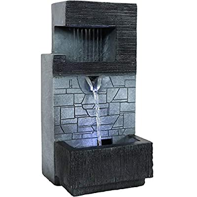 Sunnydaze 13-Inch Modern Tiered Brick Wall Tabletop Indoor Water Fountain with LED Light - Small Interior Water Feature for Desktop and Table - Mini Decorative Fountain for Home and Office