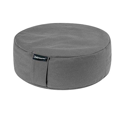 Retrospec Sedona Zafu Yoga Meditation Cushion with Carry Handle and Filled with buckwheat Hulls; Slate Gray, Round