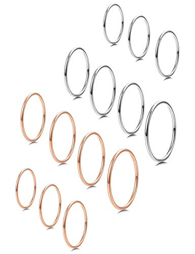 MILACOLATO 7-14 PCS 1MM Stainless Steel Band Knuckle Stacking Rings for Women Fashion Midi Rings Comfort Fit Size 3-9 Rose-Gold