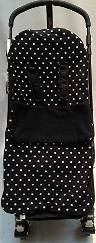 Snuggle saco/Cosy Toes Compatible con Quinny Buggy Buzz Zapp Extra Moodd para cochecito de bebé, diseño de lunares, color negro
