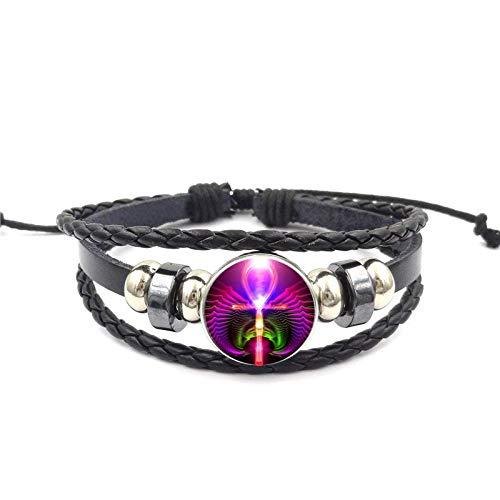 Blume Des Lebens Ankh Marke Schwarz Leder Armband Armreif Glas Cabochon Schmuck Bijouterie Für Unisex
