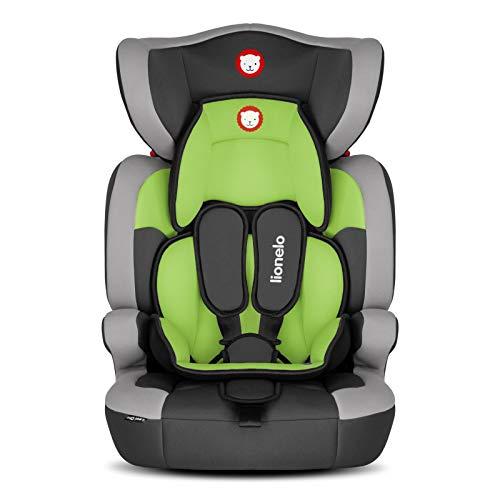 Lionelo Levi One Kindersitz 9-36kg Kindersitz Auto höhenverstellbare vertiefte Kopfstütze Seitenschutz abnehmbare Rückenlehne Sitzverkleinerer 5-Punkt-Gurte (Grün)