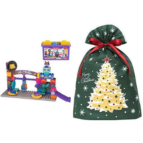 アンパンマン ブロックラボ ばいきんまんのくるくるメカ工場ブロックバケツ (ごっこ遊びも楽しめる!ワールドブロックシリーズ) + インディゴ クリスマス ラッピング袋 グリーティングバッグ3L クリスマスツリー ダークグリーン XG984