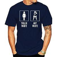 Camiseta 2021 t-shirt cotton de manga curta para homens marca sua esposa minha esposa