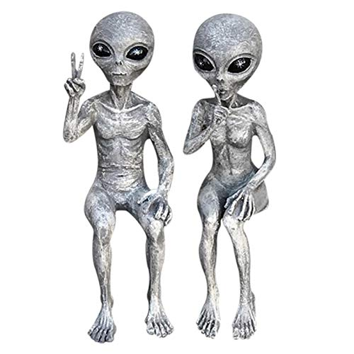Set of Two Silver Art Outer Space Alien Grays Peace Dude Shelf Sitters Statue Figurine Home Indoor Outdoor Decoration Figurines Home (A + B)