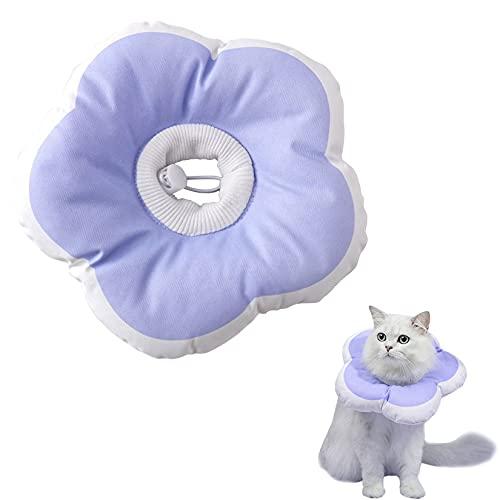HXX Collar Isabelino para Gatos Perros, Blando Conos de Recuperación para Mascotas con Cordón Ajustable, Suaves Collares de Recuperación para Gatos Perros Pequeño Púrpura S