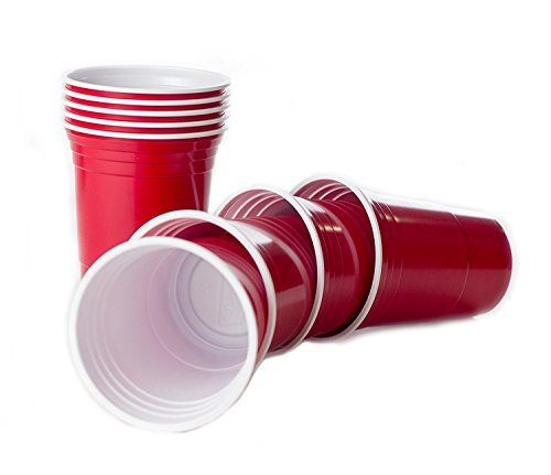 BeerCup-Classics Wiederverwendbare Rote Becher, Red Party Beer Pong Cups 16 oz. 473 ml rot, US College Style - (50 Stück/Pieces)