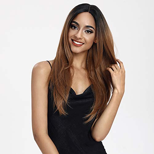 "Style Icon Lace Front Wigs Ombre Lace Wigs Long Straight Wigs Synthetic Wigs with Baby Hair Half Hand Tied Black Ombre Blonde Dark Brown 130% Density Wigs (26"", TT1B/27)"