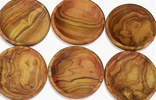 Figura santa - 6 piatti in legno d'ulivo. Set Lamamma da 6 pezzi. Diametro: 10 cm. Qualità originale!