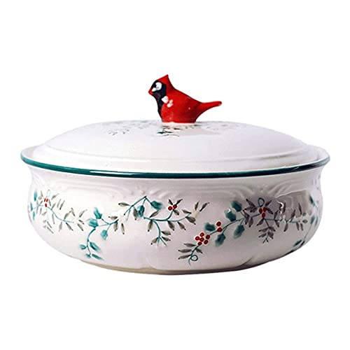 YIBOKANG Platos de cazuela Pote de sopa en relieve con tapa, cazuela de cerámica doméstica, con alivio hecho a mano, estilo europeo, vajilla grande de la casa creativa, para horno de microondas