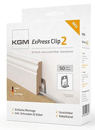 KGM Sockelleisten Clips ExPress2 | Leistenclips für unsichtbare Fußleisten Montage ✓integrierter Kabelkanal ✓fester Halt | Montageclips Set je 50 Befestigungsclips Dübel & Schrauben