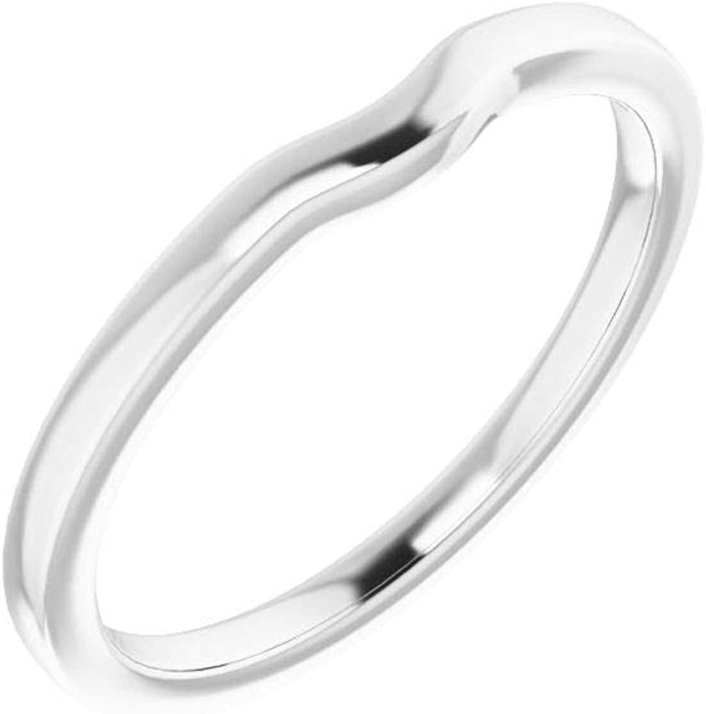 Solid 14K White Gold Curved Notched Wedding Band for 7.4mm Round Ring Guard Enhancer - Size 7