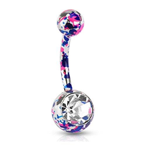 Taffstyle - Piercing para el ombligo (acero quirúrgico, varilla doble), diseño de plátano, color lila y rosa con cristal transparente