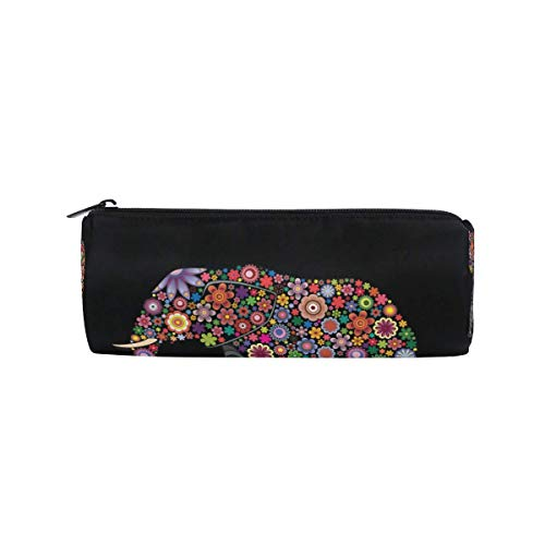 IOPLK Kulturbeutel runde Federmäppchen Kosmetiktasche Federmäppchen CCDMJ Dog Paw Print Bone House Pen Pencil Case Bag Holder Zipper Organizer Students Stationery Bags Makeup Brush Pouch for Kids Girl
