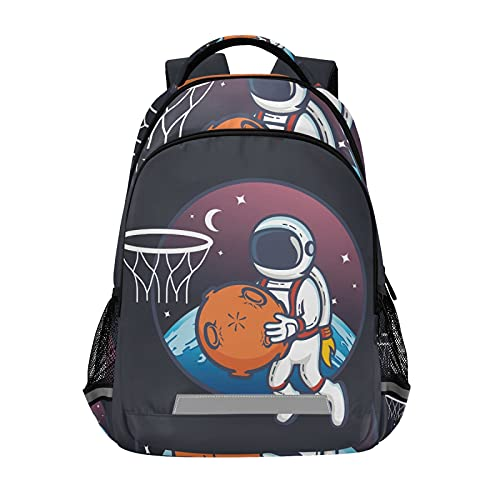 Vnurnrn Astronauta Baloncesto Planeta Espacio Niñas Mochila de Estudiantes Mochilas para Viajes Escolar Niños