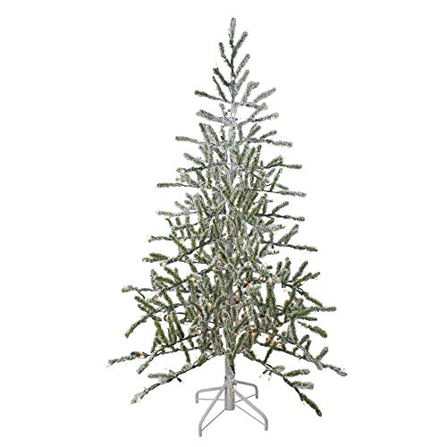 Northlight Flocked Alpine Coral Artificial Christmas Tree, 5', White