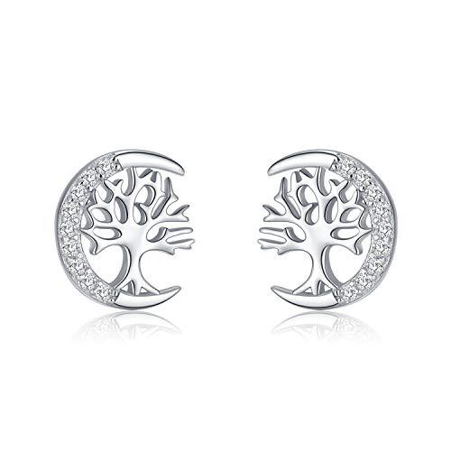 Tree of Life Earrings for Women 925 Sterling Silver Stud Earrings Jewellery Gift for Her Girls Girlfriend Ladies Mother