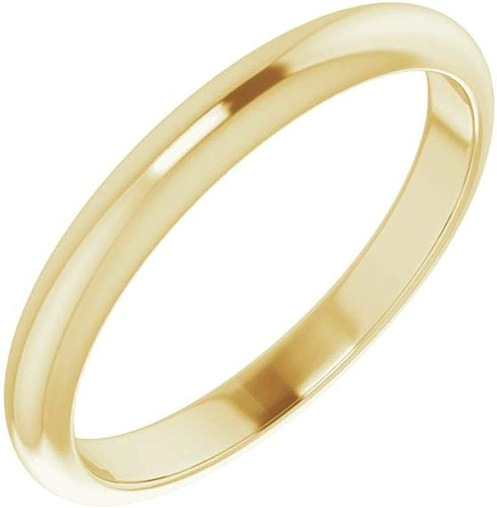 Solid 10K Yellow Gold Curved Notched Wedding Band for 7.4mm Round Ring Guard Enhancer - Size 7