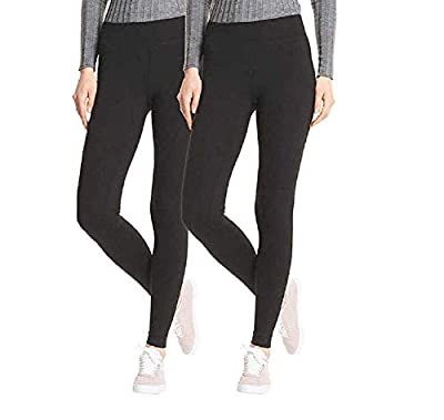 HUE Perfect Fit Every Day Leggings, Wide Comfortable, Black, Size Small