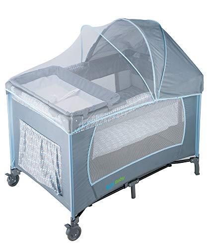 KOOL BABY Corralito para bebé con toldo mosquitero, cuna y cambiador color gris/azul MOD. PP-02
