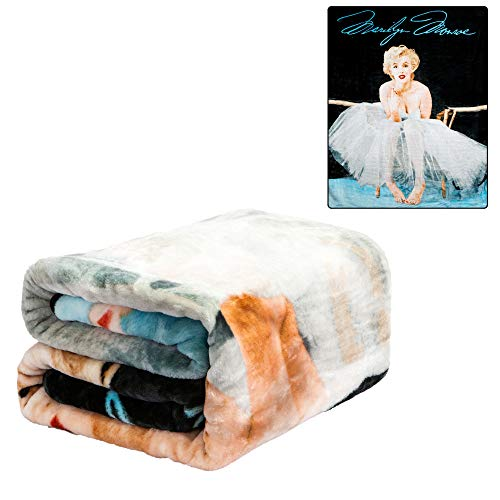 JPI Plush Throw Blanket - Marilyn Monroe Ballerina - Queen Bed 79'x 95' - Faux Fur Blanket for Beds, Sofa, Couch, Picnic, Camping