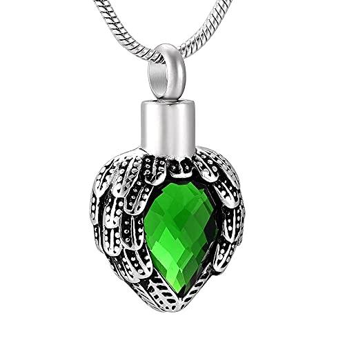 Collar de urna brumoso verde gota de agua con incrustaciones de piedra diseño de cuero corazón cremación urna colgante memoria cenizas titular recuerdo