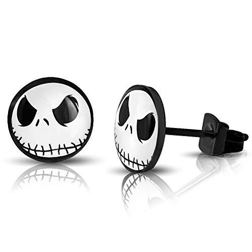 10 MM Black Stainless Steel Jack Skellington Round Circle Button Stud Post Earrings