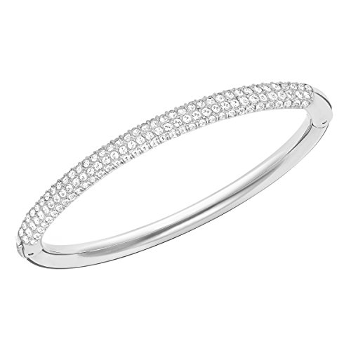 Swarovski Stone Bangle Bracelet, Brilliant White Crystals with a Radiant Rhodium Plated Setting, Size M, from the Swarovski Stone Collection