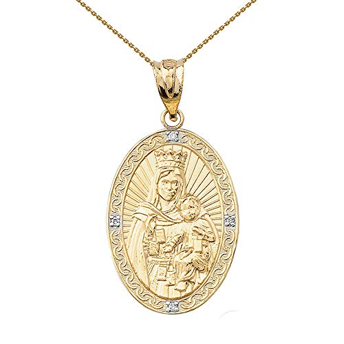 Fine 14k Gold Our Lady of Mt. Carmel Diamond-Accented Oval Medal Pendant Necklace, 20'
