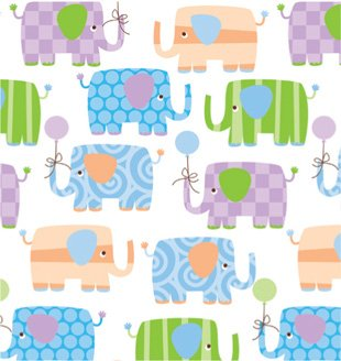 Baby Elephants Gift Wrapping Roll 24' x 15' - Baby Shower Gift Wrap Paper