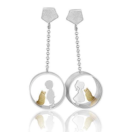 ♥ Regalo para Navidad♥ JIANGYUYAN S925 de plata de ley con forma de gota de gato, creativos, hechos a mano, joyas únicas para mujeres y niñas