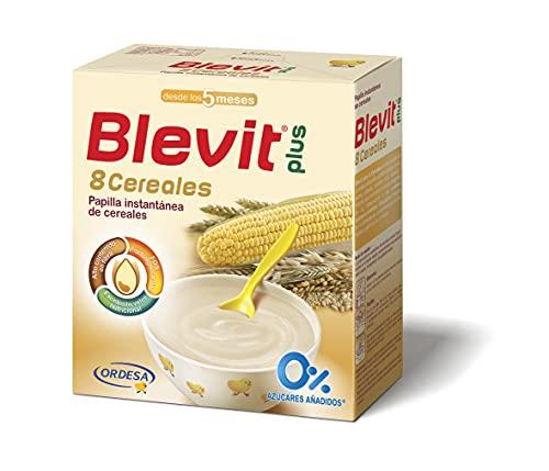 Blevit Plus 8 Cereales - Papilla de Cereales para Bebé con Harina de Avena y Harina de Trigo - Sin Azúcares Añadidos - Ayuda a regular el tránsito intestinal - Desde los 5 meses - 600g