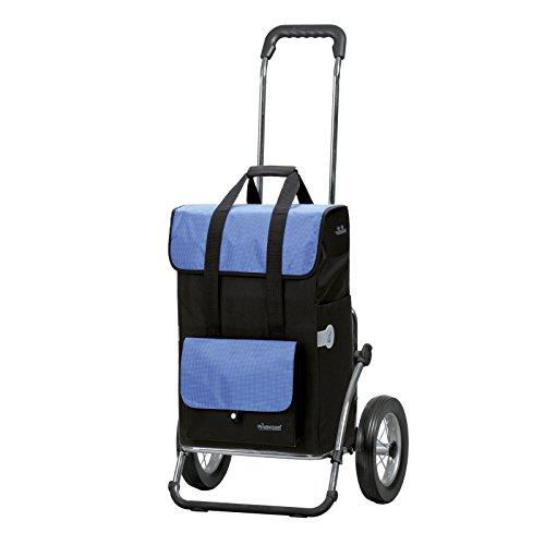 Andersen Einkaufstrolley Royal Stahl-Gestell klappbar mit Metallspeichenrad 25 cm und 43 Liter Einkaufstasche Vektor schwarz/blau mit Kühlfach