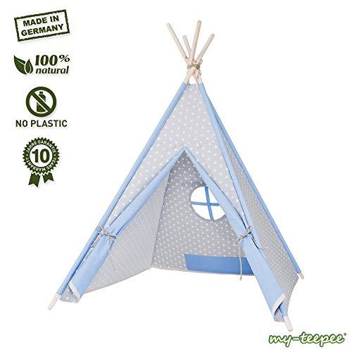 my-teepee, Tente tipi pour garçons ou Filles de 2 à 8 Ans, piquets en épicéa Naturel, Toile 100% Coton, Montage Rapide, Gris/Bleu …