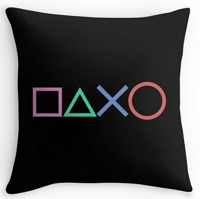 Mary R.Store Cotton Linen Square Decorative Throw Pillowcase Playstation Buttons 18x18(inches) Set of 1