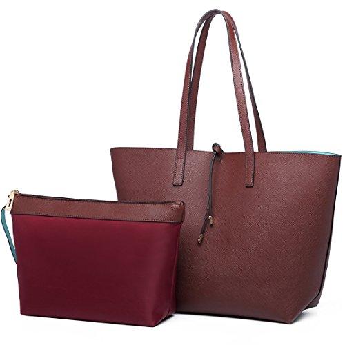 Miss Lulu Faschionable Tote Bag Shopper Axelväska PU-läder Praktisk (Kaffe)