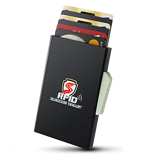 HOXEEJEE Kartenetui Herren mit RFID Schutz für 10 Karten, Karten Portemonnaie mit Münzfach Kreditkartenetui Slim Card Holder Wallet Men Mini Geldbeutel Portmonee Karten für Herren
