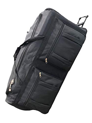 Gothamite 36-inch Rolling Duffle Bag with Wheels, Luggage Bag, Hockey Bag, XL Duffle Bag With Rollers, Heavy Duty Oversized Bag (Black)
