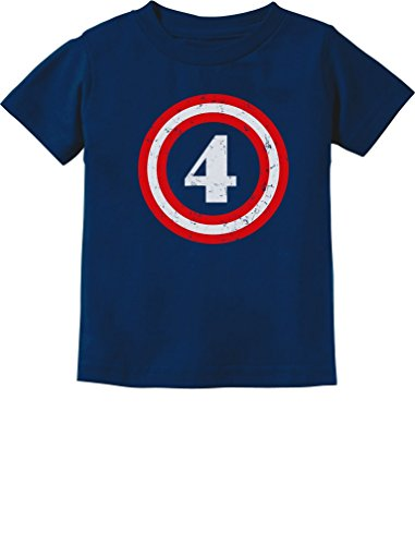 Tstars Captain 4th Birthday Shirt Gifts for 4 Year Old Boys Fourth Toddler Shirt 4T Navy