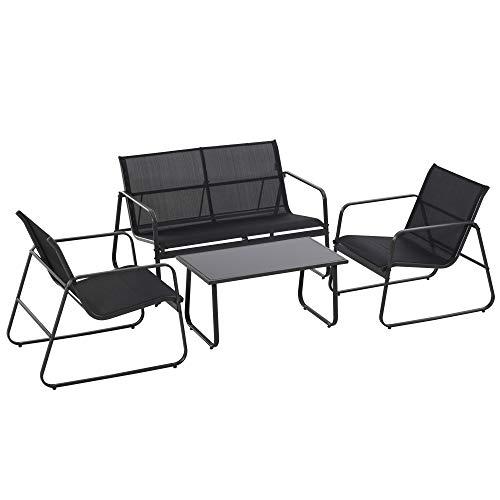Outsunny Set Tavolino con Panchina e 2 Sedie da Giardino, Arredamento da Esterno in Metallo e Textilene, Nero