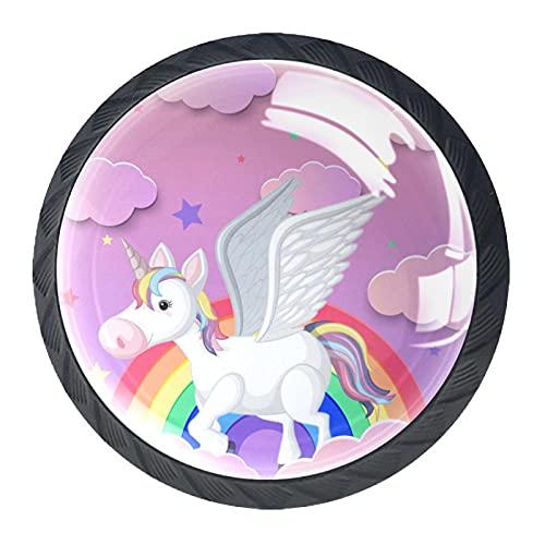 Pomos de resina con diseño de unicornio rosa con diseño de unicornio arcoíris y nubes decorativas para armario, armario, juego de cuatro piezas