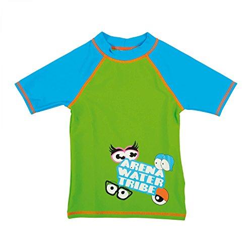 arena Jungen Sonnenschutz Bade T-Shirt (Schnelltrocknend, UV-Schutz UPF 50+, Chlor-/Salzwasserbeständig), Leaf-Turquoise (608), 92