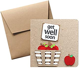 Get well soon - buona guarigione - biglietto d'auguri (formato 12 x 12 cm) - vuoto all'interno, ideale per il tuo messaggi...