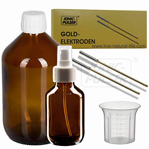 Ionic-Pulser® - Electrodos de oro macizo para fabricar oro coloidal (incluye botella...